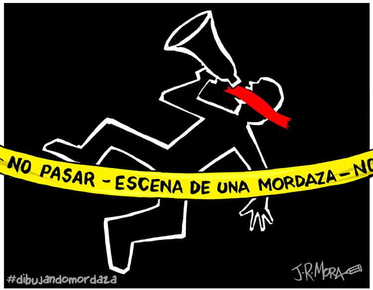 #DibujandoMordaza, una exposición en el suelo
