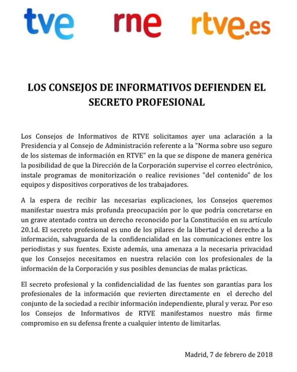 RTVE redacta una norma que permite a la dirección espiar los correos electrónicos de sus periodistas 1