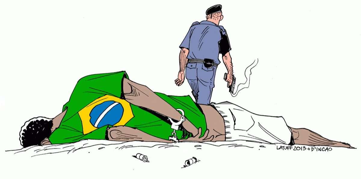 Un diputado brasileño rompe una viñeta sobre violencia policial en una exposición