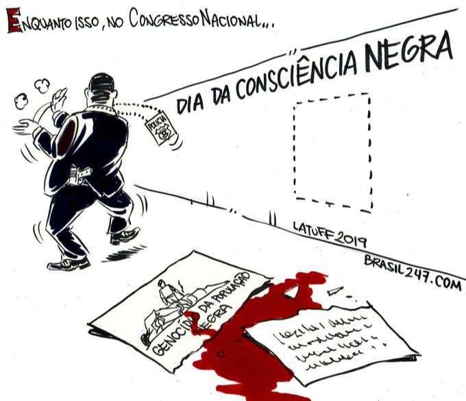 Un diputado brasileño rompe una viñeta sobre violencia policial en una exposición 2