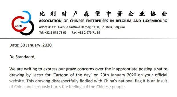 Asociación de empresas chinas en Bélgica y Luxemburgo exigen disculpas a un diario y su dibujante