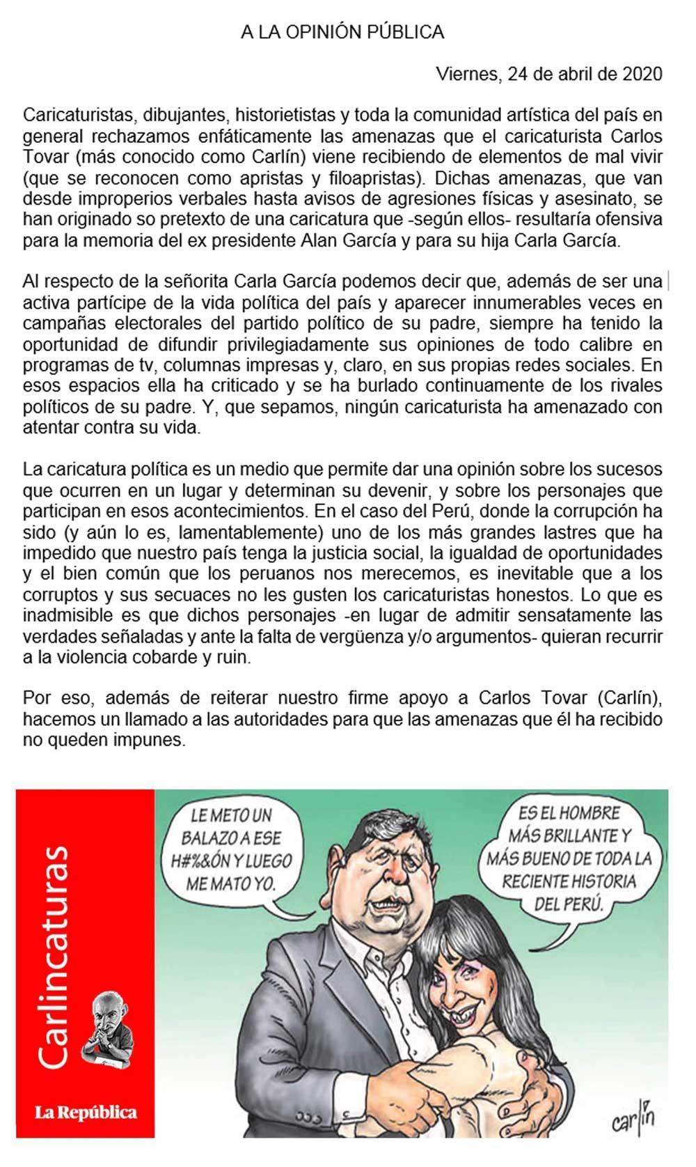 El dibujante peruano Carlín recibe amenazas de agresión por una viñeta sobre Alan García 3