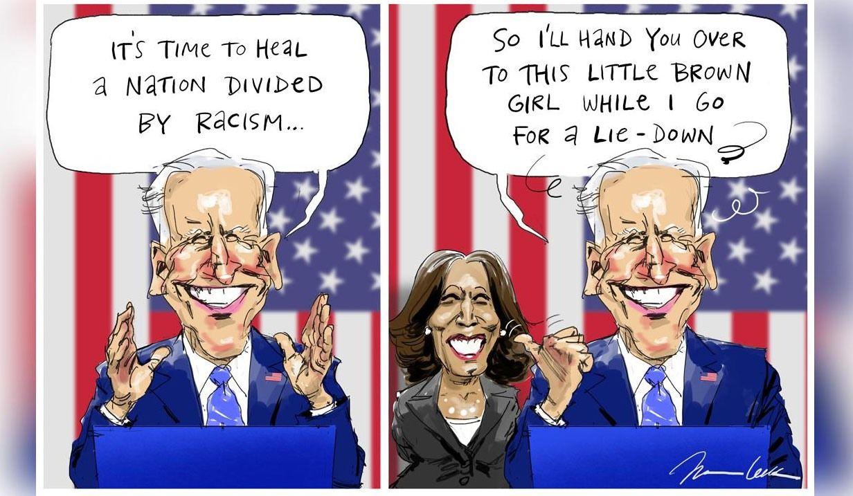 Acusan a Johannes Leak de racismo por una viñeta sobre Joe Biden y Kamala Harris