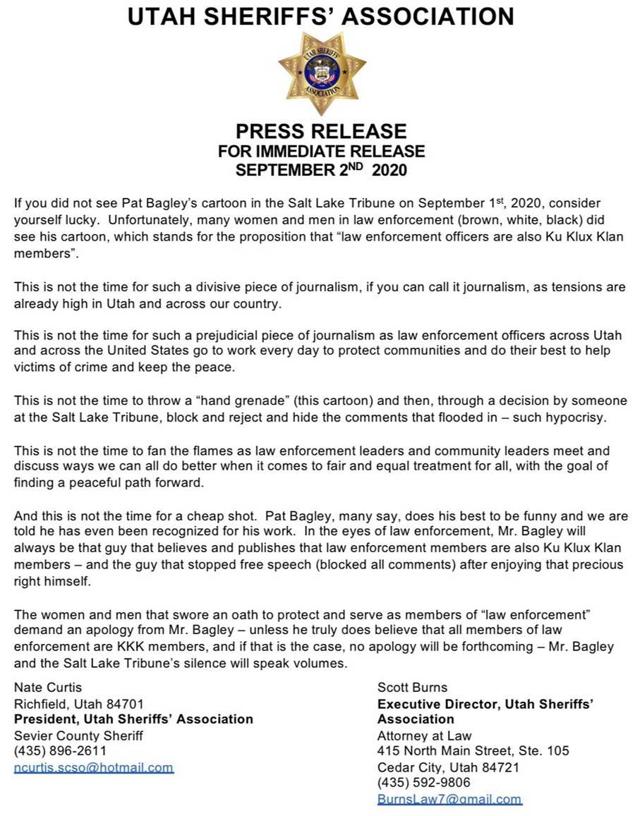 Policías de Utah exigen al dibujante Pat Bagley que se disculpe por una viñeta