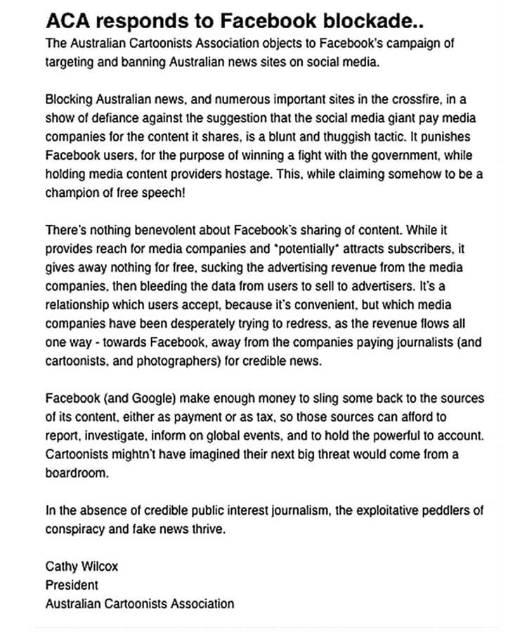 La asociación australiana de viñetistas responde al bloqueo de Facebook 0