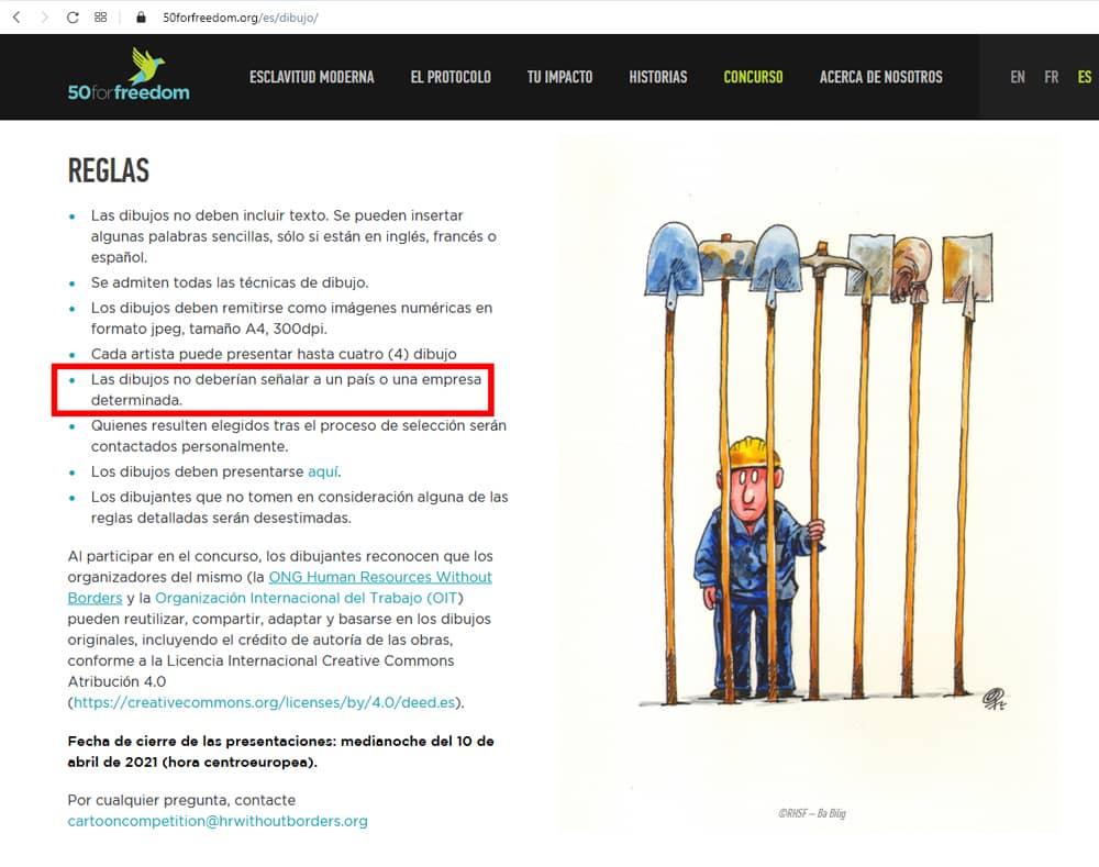 La OIT organiza un concurso de humor gráfico contra el trabajo forzoso, con censura previa